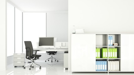 interior office space wall decoration empty - 3D Rendering