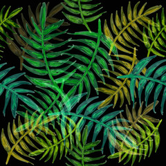 seamless acrylic hand paint tropical palm leaf background wallpaper abstract