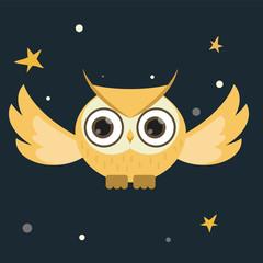 owl flying at night