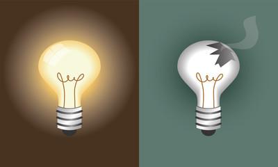 glowing light bulb and broken light bulb