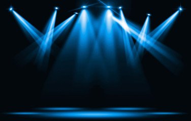 Poster Lumiere, Ombre Stage lights. Blue spotlight strike through the darkness.