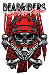 skull morocross rider with crossed bones