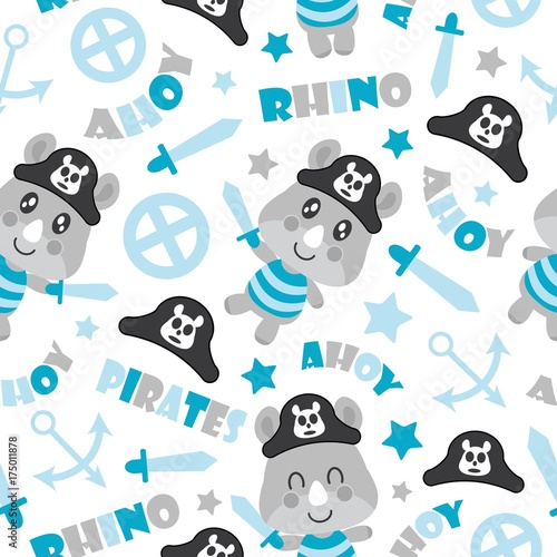 Seamless Pattern Of Cute Rhino Pirate Boys Swords And Anchors