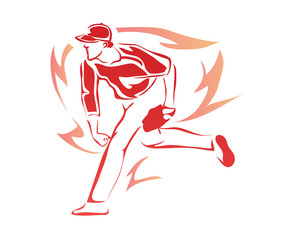 Passionate Professional Baseball Sports Athlete In Action Logo