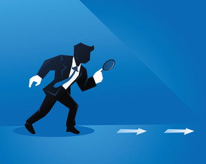 Creative Start Up Businessman Illustration Concept - Analyzing The Competitor Moves