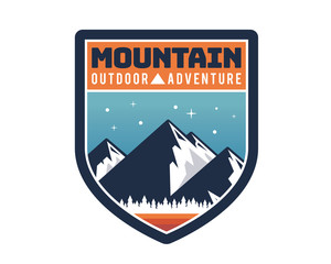 Modern Mountain And Rock Climbing Logo Badge Illustration
