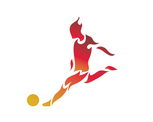 Modern Abstract Soccer Player In Action Logo
