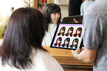 Hair color simulation system concept. Technological scene of hair salon.
