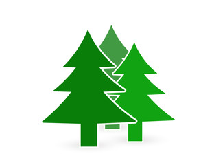Icon (symbol) of trees, forest zone designations. New Year tree (spruce, pine)
