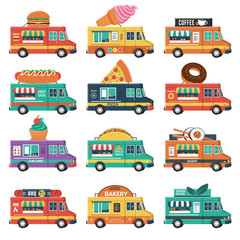 Set of food trucks. Burger, ice cream, coffee, cakes, pizza, sushi, taco, donuts, vegan, etc