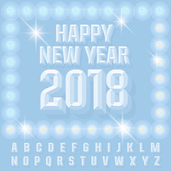 Vector light up burlesque New Year 2018 greeting card with Alphabet