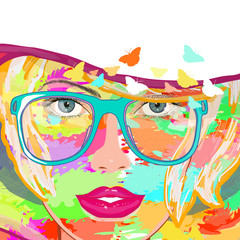 Art woman vector. Fashion woman art print