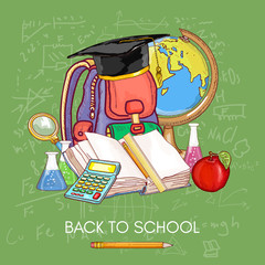 Education concept. Education school subjects open book knowledge vector illustration