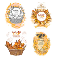 Bakery bread and rolls in wicker basket collection fresh pastries templates hand drawn vector