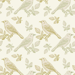 Birds seamless pattern. Vintage birds seamless pattern vector