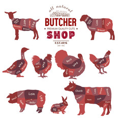 Butcher shop collection. Butcher shop set. Farm animals silhouette. Cow, rabbit, sheep, pig, goat, goose, duck, turkey, diagrams meat vector illustration