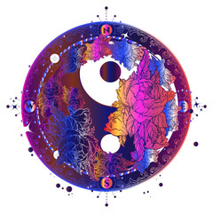 Magic circle tattoo and t-shirt design. Floral Yin Yang meditative color tattoo art. Boho style, meditation symbol, philosophy, harmony tattoo. Yin and Yang sign