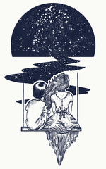 Love story tattoo and t-shirt design. Love tattoo. Girl and boy on swing. Symbol of love, romantic, dream, motivation, adventure. Couple in love tattoo and t-shirt design. People in universe