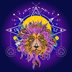 Medieval mystic lion tattoo art. Alchemy, religion, spirituality, occultism, tattoo lion art and t-shirt design