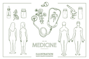 Medical collection. Medical set man and woman male and female anatomy medical equipment hand drawn vector illustration