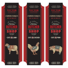 Butcher shop banner. Butcher shop, meat chicken, pork, lamb, vector dark black banners