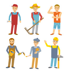 Work people flat design. Professions collection people builder, welder, mechanic, farmer, sportsman, artist, kids illustration vector