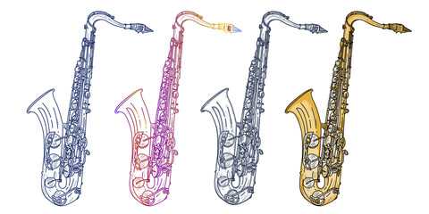 Saxophone isolated on white saxophone jazz saxophone elements music vector