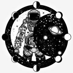Astronaut tattoo and t-shirt design. Cosmonaut in universe, solar eclipse t-shirt design. Spaceman tattoo art. Symbol of science, astronomy, education