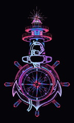 Sea adventure tattoo and t-shirt design. Anchor, steering wheel, compass, lighthouse. Symbol of maritime adventure, tourism, travel. Old anchor and lighthouse t-shirt design