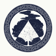 Magic tree tattoo and t-shirt design. Tree of Life tattoo art, symbol of life and death. Star river. Mystic sign of immortality of the human soul. Symbols of psychology, symmetry, philosophy, poetry