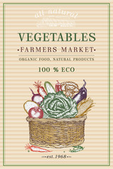 Vegetables poster. Fresh vegetable in basket vintage poster. Eco food. Vegetables vintage frame