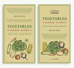 Vegetables market, organic food design template. Healthy eating background, eco vegetables vector