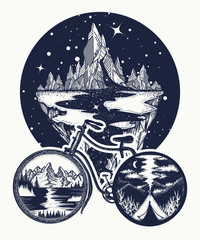 Outdoors tattoo and t-shirt design. Bicycle tattoo art. Symbol of travel, tourism, adventure, camping. Mountains in bicycle wheels t-shirt design