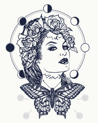 Magic woman and butterfly tattoo and t-shirt design. Art nouveau woman tattoo and t-shirt design. Symbol of a retro, queen, princess, lady. Glamourous vintage art nouveau woman tattoo. Noir woman