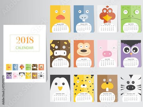 Kids Calendar Design : Quot funny animal calendar design the year of dog