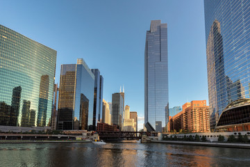 Chicago City. Chicago downtown and Chicago River with bridges during sunset.