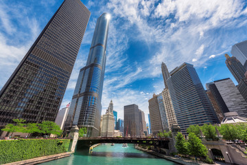 Chicago City. Chicago downtown and Chicago River with bridges during sunny day.