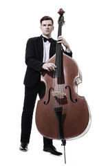 Photo sur Aluminium Musique Double bass player playing contrabass