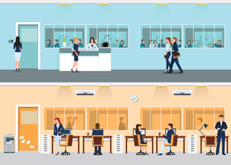 Modern office with desk and office worker.