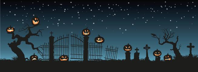 Zelfklevend Fotobehang Groen blauw Holiday Halloween. Black silhouettes of pumpkins on the cemetery on night sky background. Graveyard and broken trees