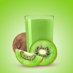 glass of juice with kiwi on gradient background