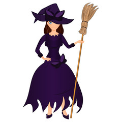 Halloween holiday. Cute girl witch with a broom