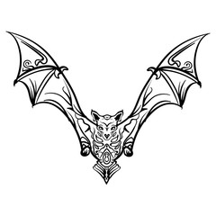 stylized image doodle bat. Bat tribal tattoo