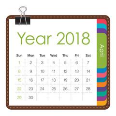 April 2018 calendar vector illustration.