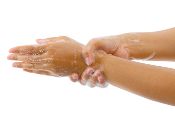 Hand washing medical procedure step isolated