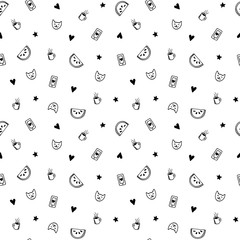 Hand drawn minimalistic black and white pattern, cute pop fashion elements