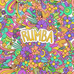 Rumba Zen Tangle. Doodle dance background with flowers.
