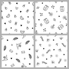 Set of four hand drawn minimalistic patterns, cute pop fashion elements