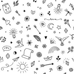 Seamless pattern with various hand drawn decorative and fun elements in black and white