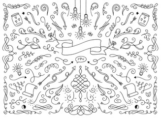 Set of various text decoration elements like swirls, dividers, ornaments, hearts etc.